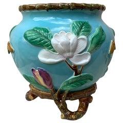 19th Century English Majolica Magnolias Jardinière George Jones