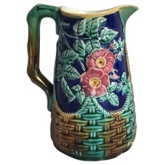 19th Century English Majolica Pitcher with pink Flowers