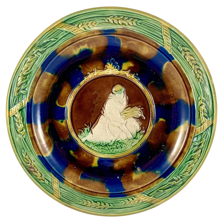 19th-C. English Rococo Revival Majolica Ruth & Wheat Wall Plaque or Bread Tray