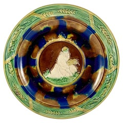 19th-C. English Rococo Revival Majolica Ruth & Wheat Wall Plaque or Bread Tray