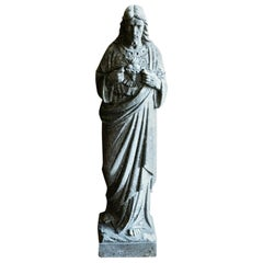 19th Century English Marble Statue of Jesus, Sacred Heart
