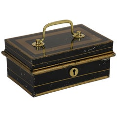 19th Century English Metal Cash Box