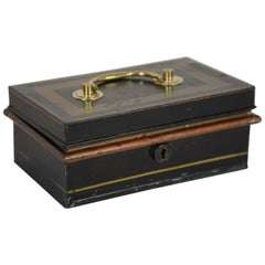19th Century English Metal Cash Box