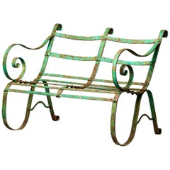 19th Century English Metal Garden Bench with Original Paint