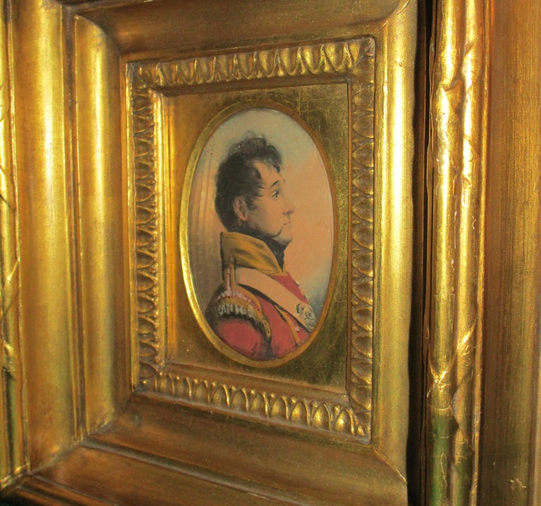 Early 19th Century 19th Century English Napoleonic War Soldier Original Watercolor in Period Frame For Sale