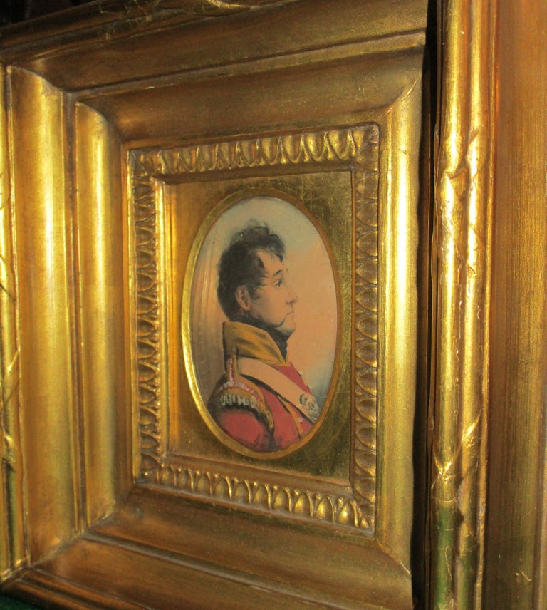 Paper 19th Century English Napoleonic War Soldier Original Watercolor in Period Frame For Sale