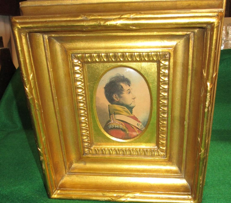 19th Century English Napoleonic War Soldier Original Watercolor in Period Frame For Sale 1