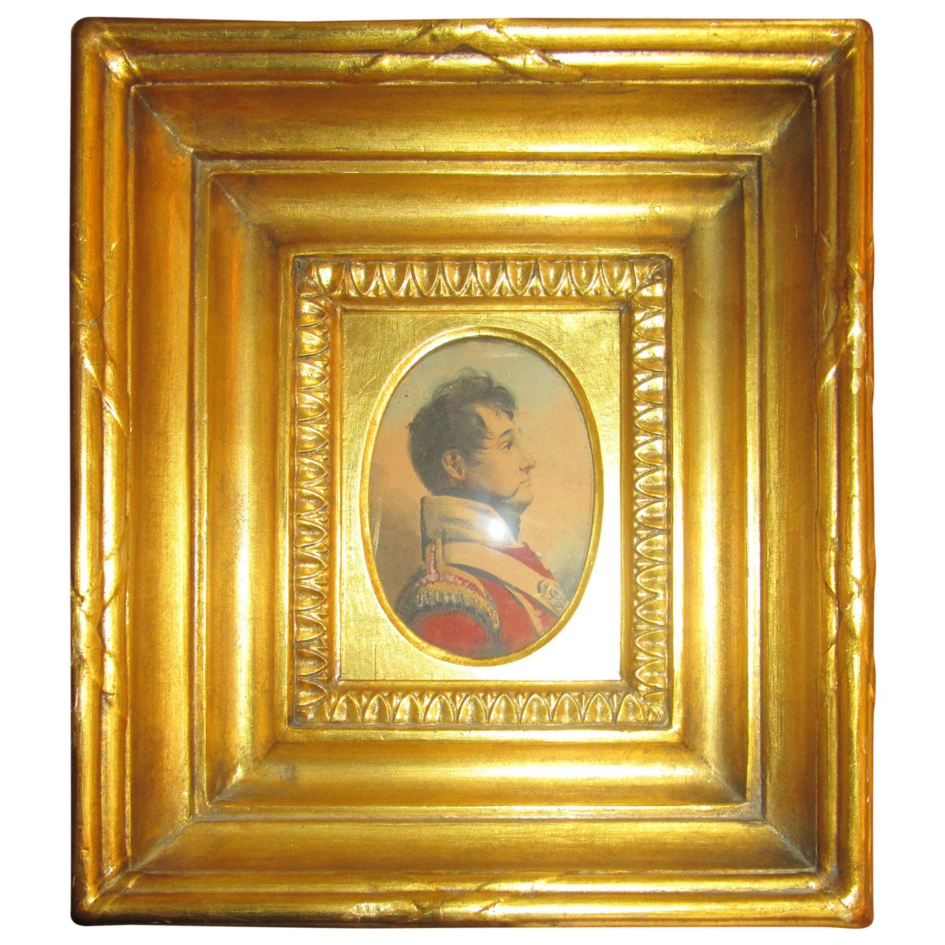 19th Century English Napoleonic War Soldier Original Watercolor in Period Frame