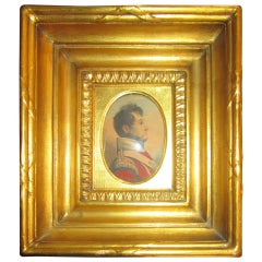 19th Century English Napoleonic War Soldier Original Watercolor in Period Frame