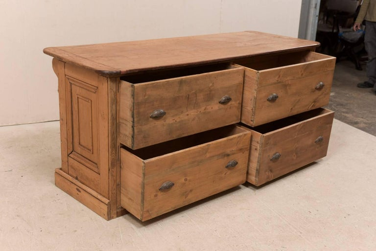 19th Century English Natural Wood Kitchen Island with Ample Storage For Sale 6