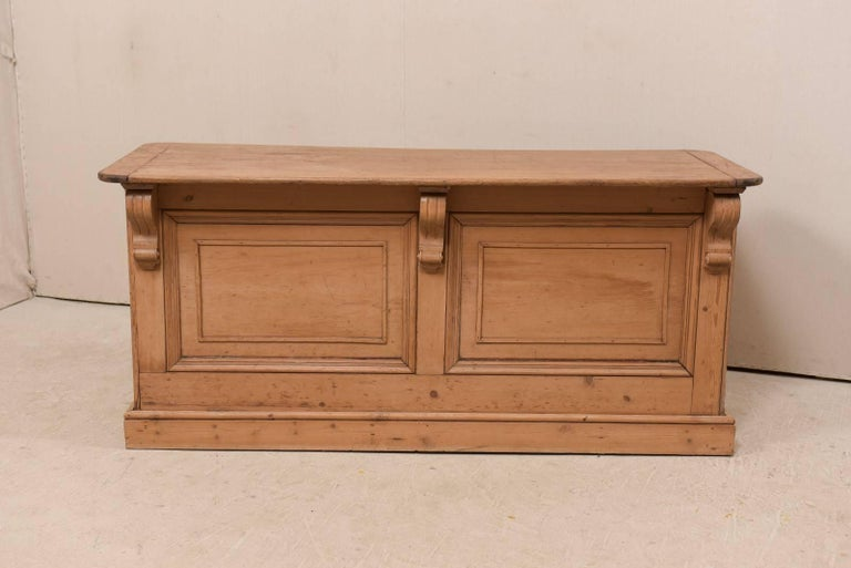Carved 19th Century English Natural Wood Kitchen Island with Ample Storage For Sale