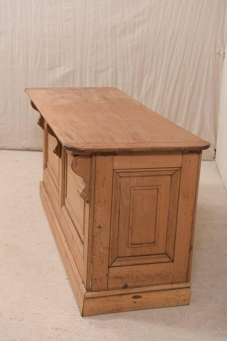 19th Century English Natural Wood Kitchen Island with Ample Storage For Sale 3