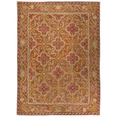 19th Century English Needlework Ochre, Gold Fuchsia Ivory and Light Brown Carpet
