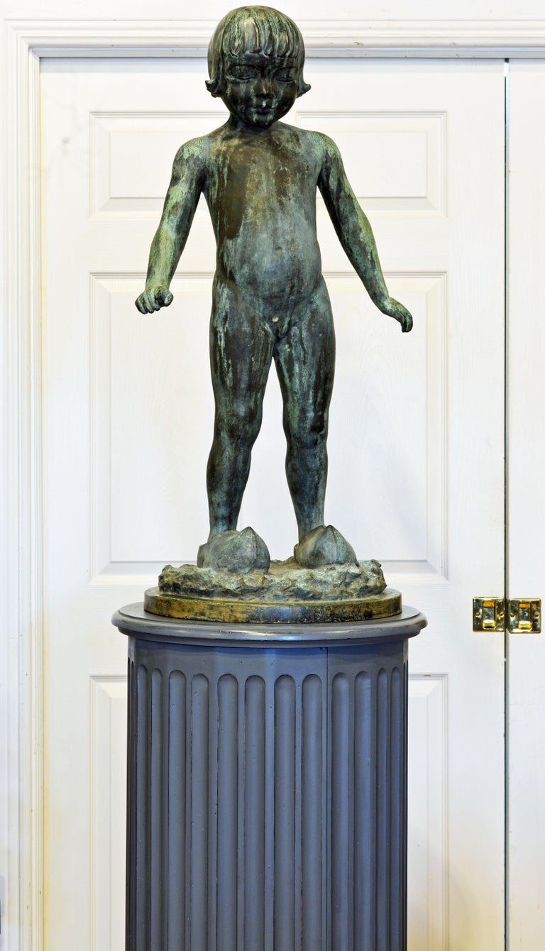 19th Century English Neoclassical Gray Painted Column Pedestal and Cabinet For Sale 7