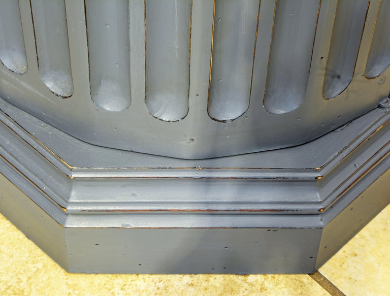 19th Century English Neoclassical Gray Painted Column Pedestal and Cabinet For Sale 5