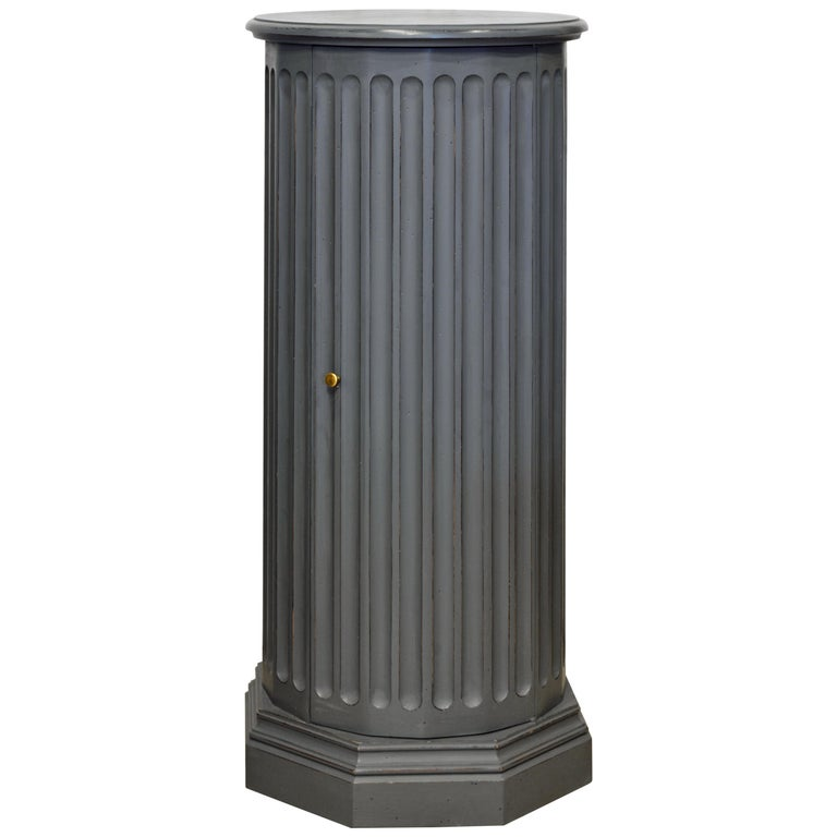 19th Century English Neoclassical Gray Painted Column Pedestal and Cabinet For Sale