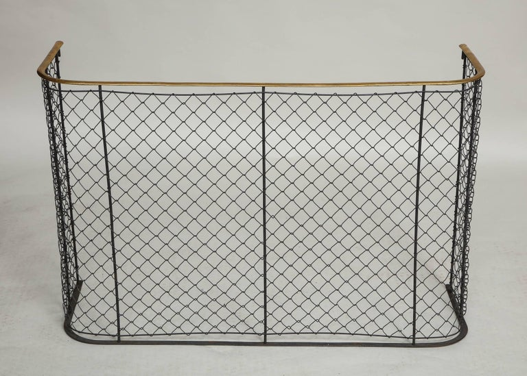 19th century English brass railed wrought iron and wirework nursery guard with wide