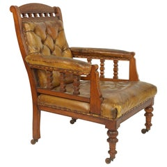 19th Century English Oak and Leather Library Chair, Lovely Old Patina