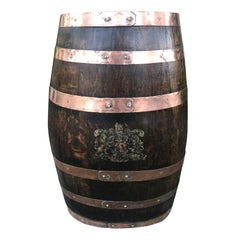 19th Century English Oak Barrel with Crest