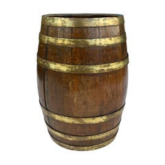 19th Century English Oak Brass Bound Barrel