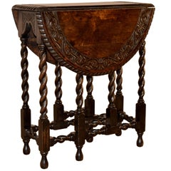 19th Century English Oak Carved Gate Leg Table
