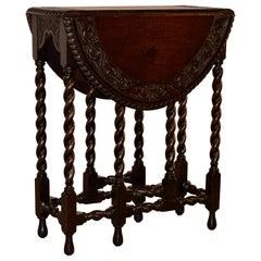 19th Century English Oak Carved Gate Leg Table