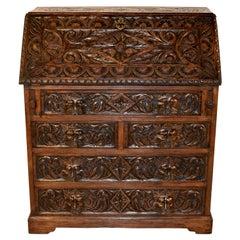 19th Century English Oak Fall Front Desk