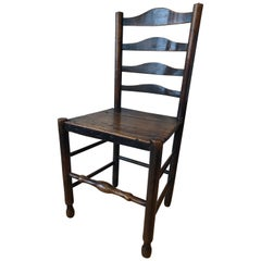 19th Century English Oak Ladder Back Side Chair