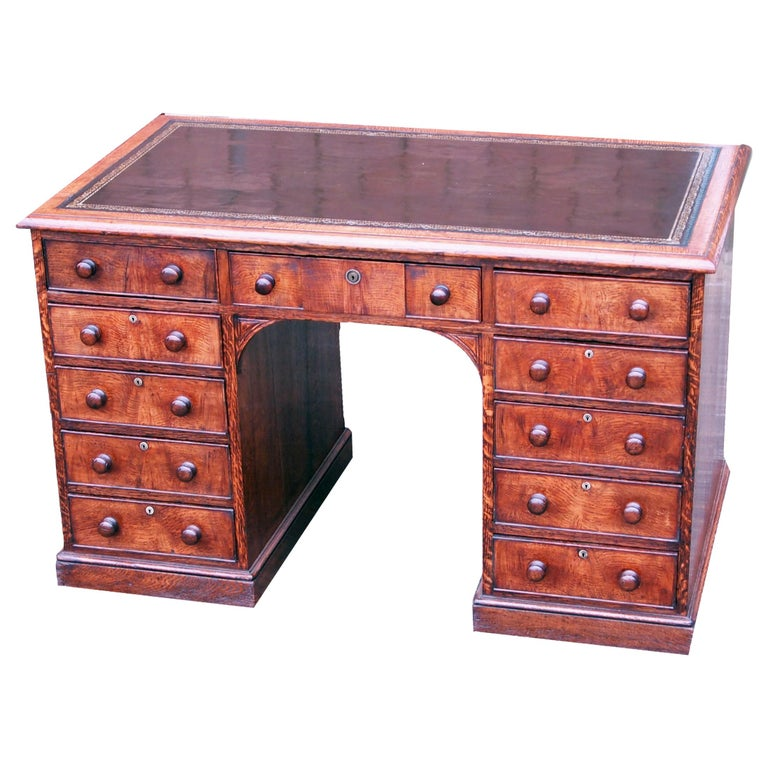 19th Century English Oak Pedestal Desk