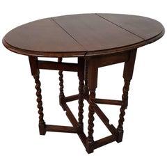 19th Century English Oak Small Size Gate Leg Table