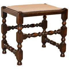 19th Century English Oak Upholstered Stool