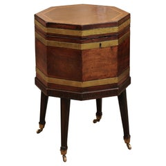19th Century English Octagonal Cellarette in Mahogany on Reeded Stand