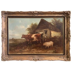 19th Century English Oil on Canvas Cow and Pig Painting in Carved Gilt Frame