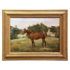 19th Century English Oil on Canvas Horse Painting in Carved Gilt Frame