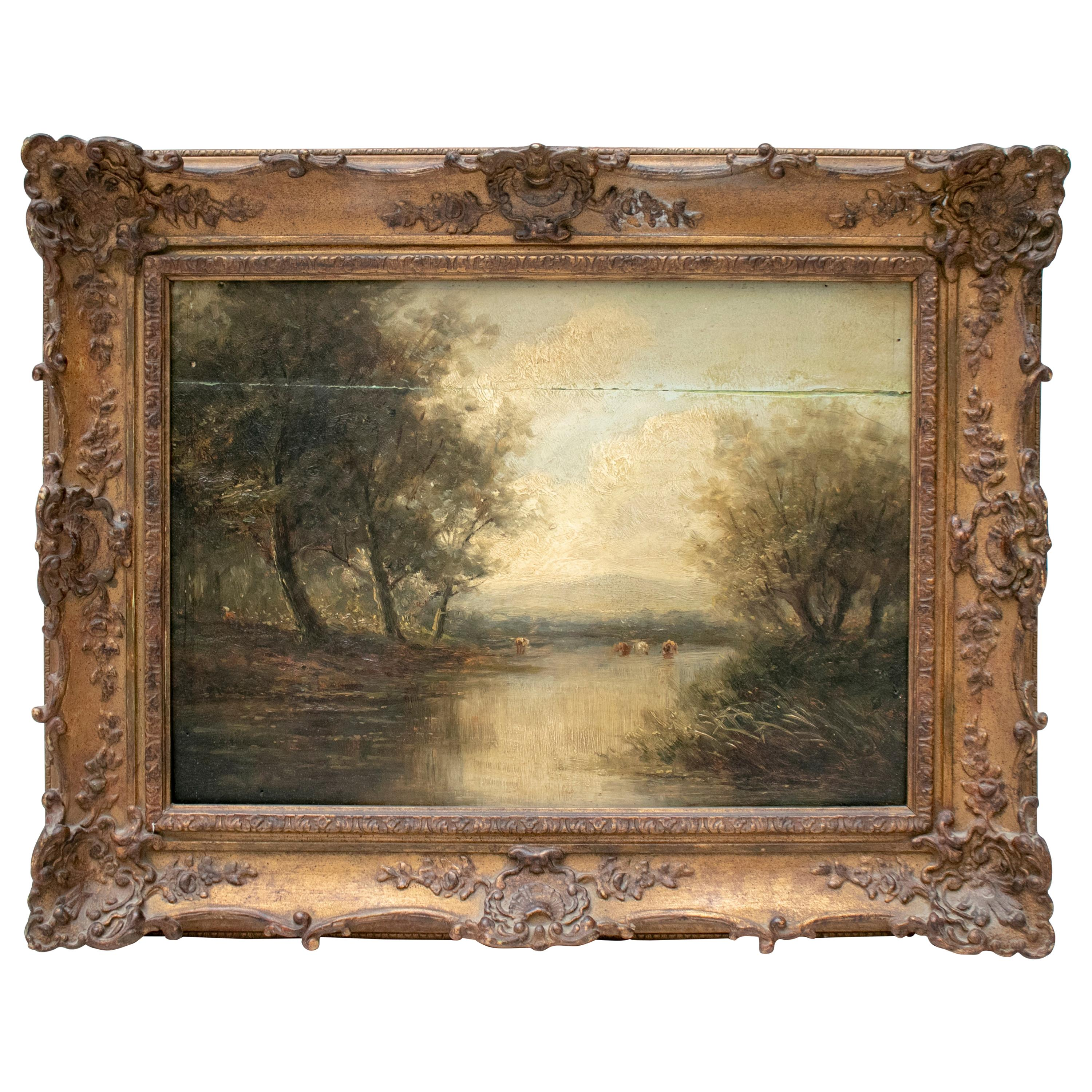 19th Century English Oil on Canvas Landscape with Frame