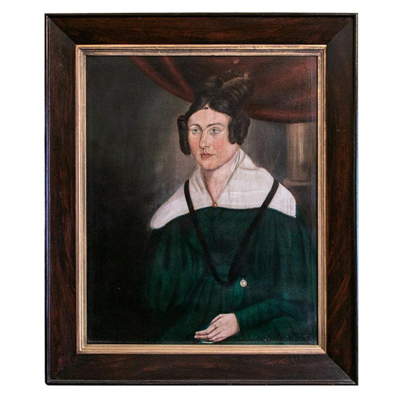 19th Century English Oil on Canvas Portrait of a Lady