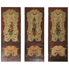 19th Century English Oil on Leather Paintings, Set of Three