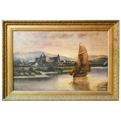 19th Century English Oil Painting of a Boat and Village