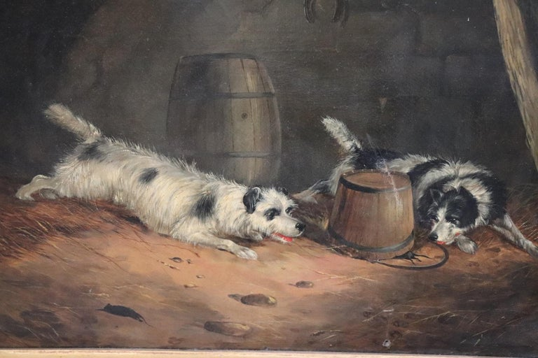 Oiled 19th Century English Oil Painting on Canvas with Golden Frame by George Armfield For Sale