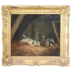 19th Century English Oil Painting on Canvas with Golden Frame by George Armfield