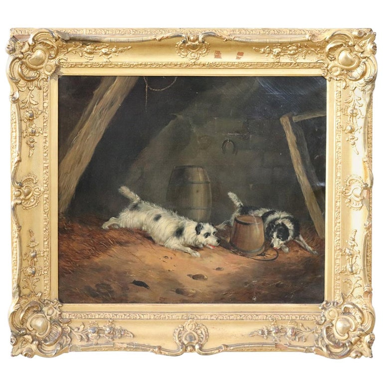 19th Century English Oil Painting on Canvas with Golden Frame by George Armfield For Sale