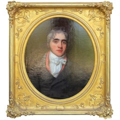 19th Century English Oil Painting Portrait of Gentleman, James Bourlet Frame