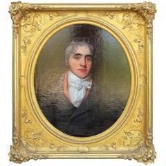 19th Century English Oil Painting Portrait of Gentleman, James Bourlet Frame