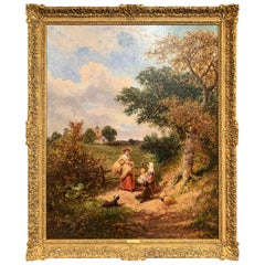 "19th Century English Oil Painting ""The Gleaners"" Signed J. E. Meadows Dated 1874"