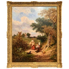 """19th Century English Oil Painting """"The Gleaners"""" Signed J. E. Meadows Dated 1874"""