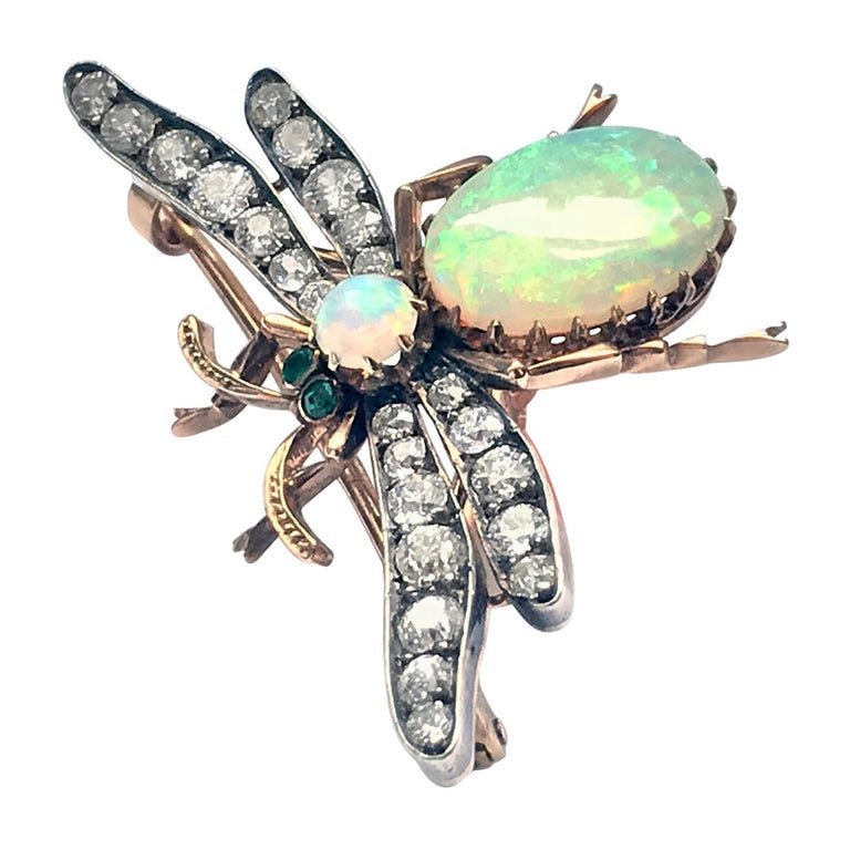 19th Century English Opal Diamond Bee Brooch Pendant For Sale