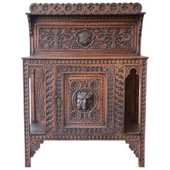 19th Century English Ornate Carved Oak Sideboard Bar Cabinet