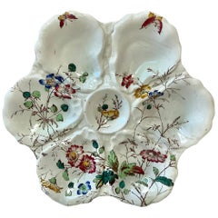 19th Century English Oyster Plate with Flowers and Butterfly