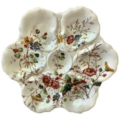 19th Century English Oyster Plate with Flowers