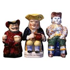 19th Century English Painted Ceramic Barbotine Pitchers, Set of Three